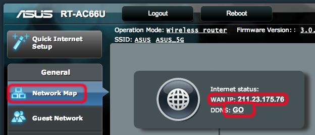 Раздел Network Map роутера ASUS RT-AC66U
